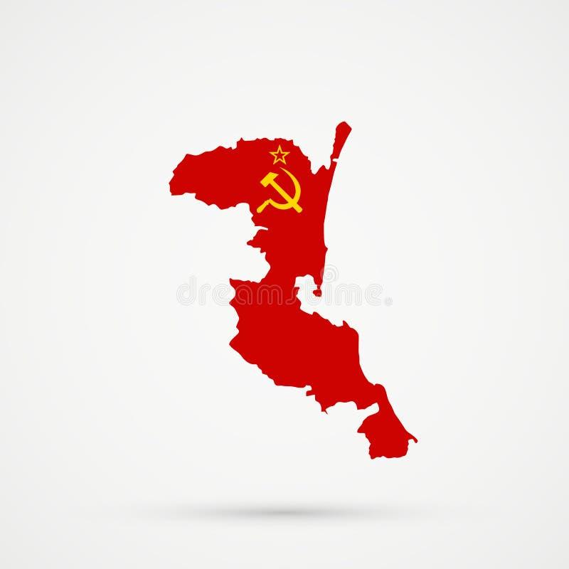 De kaart van het etnische grondgebied van Kumykiakumyks, Dagestan in de vlagkleuren van de Sovjetunie de USSR, editable vector vector illustratie