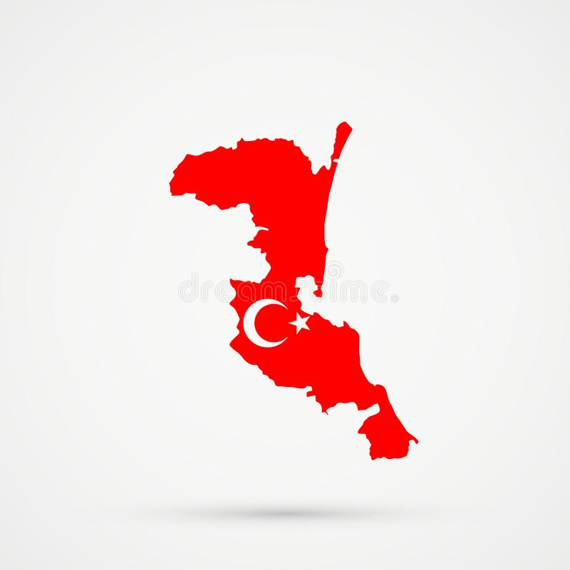 De kaart van het etnische grondgebied van Kumykiakumyks, Dagestan in de vlagkleuren van Turkije, editable vector vector illustratie