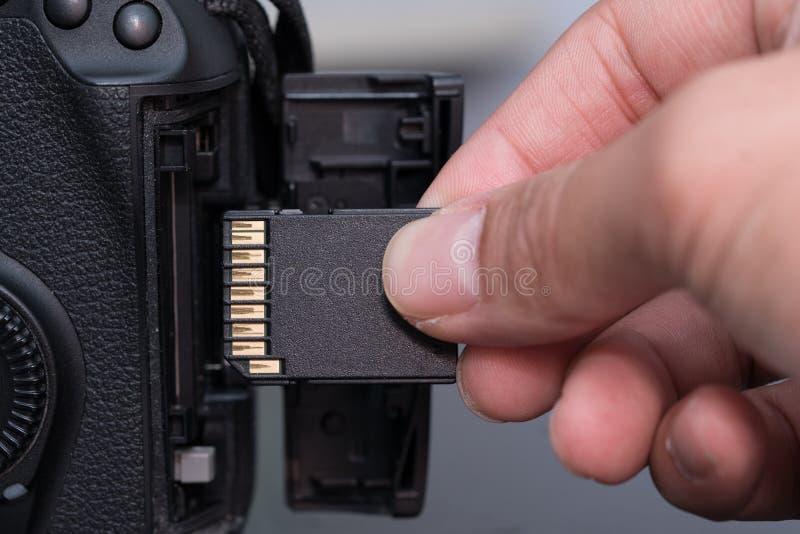 de kaart van het handtussenvoegsel BR in camera stock foto