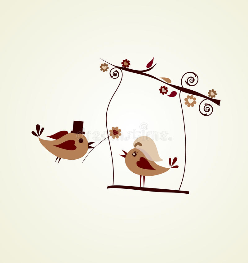 De kaart van het huwelijk; bruidegom vogel die een bloem geeft vector illustratie