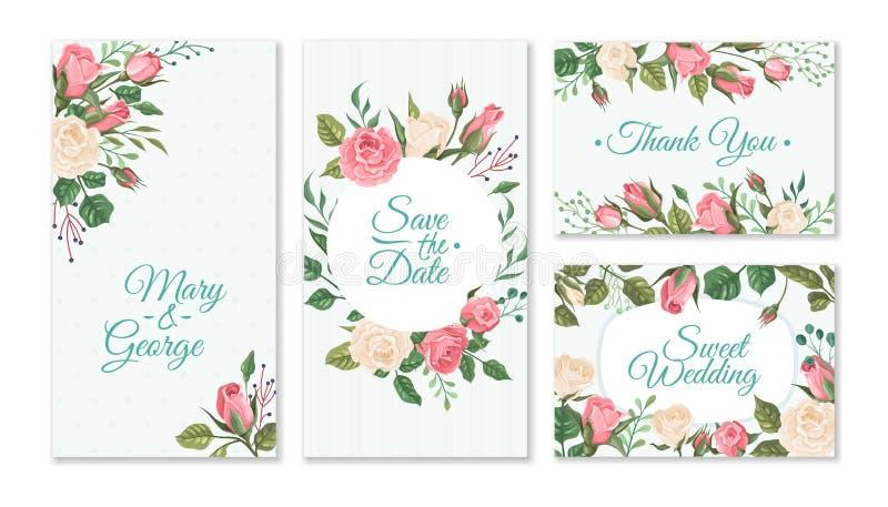 De kaart van het huwelijk met rozen Kaarten van de huwelijken de bloemenuitnodiging met rode en roze rozen en groene bladeren Vec stock illustratie