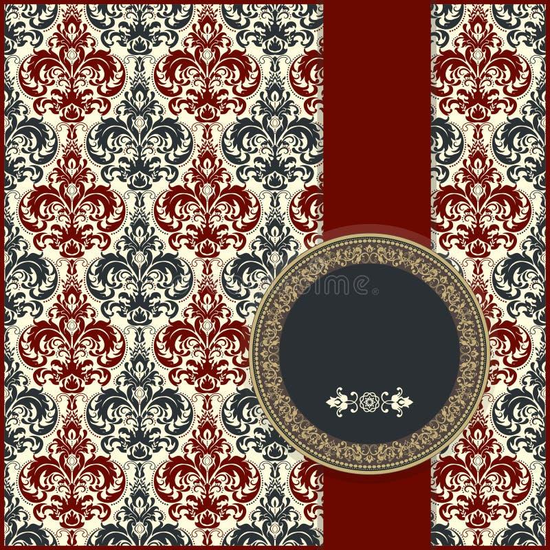 De kaart van het huwelijk of uitnodiging met abstracte bloemenachtergrond Groetprentbriefkaar in grunge of retro vector royalty-vrije illustratie