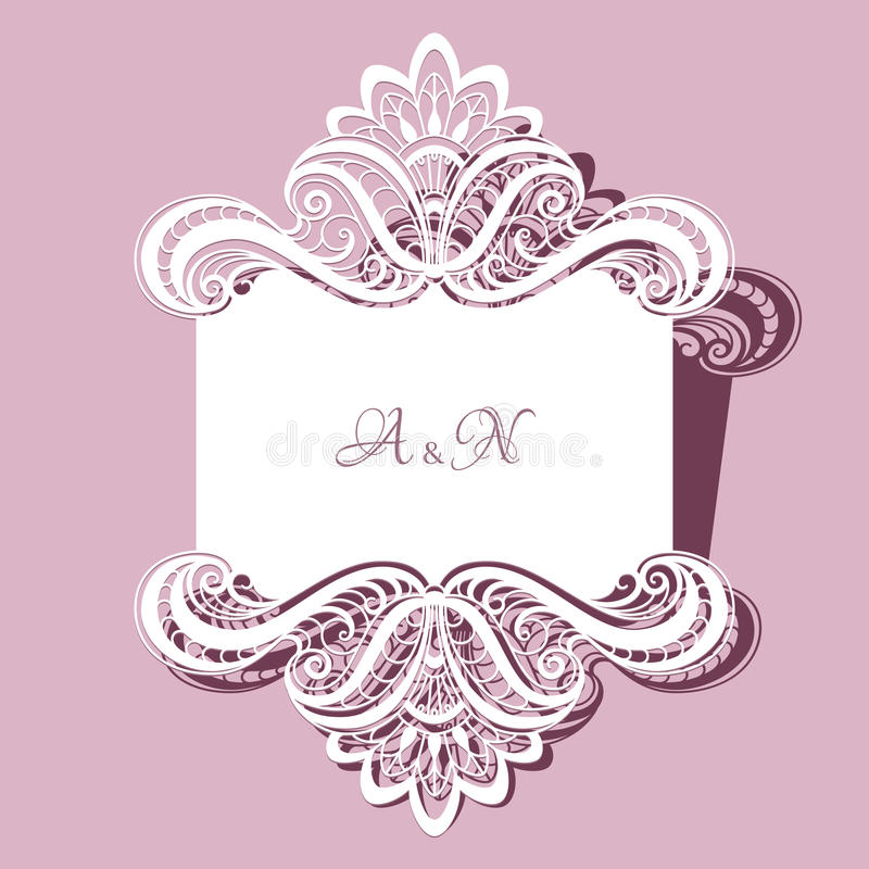 De kaart van het kanthuwelijk of uitnodigingsmalplaatje stock illustratie