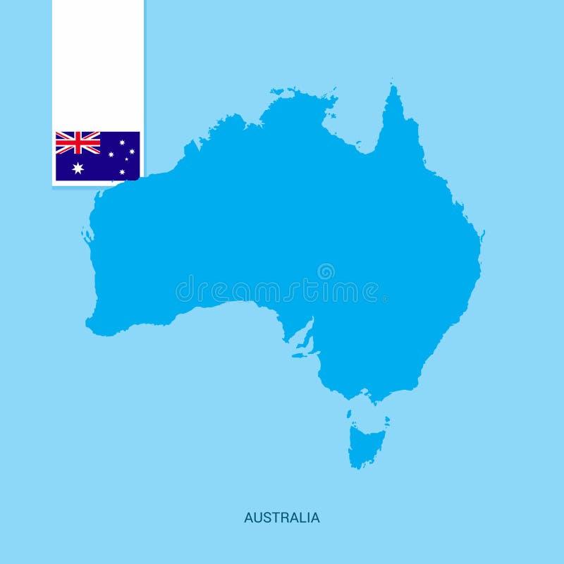 De Kaart van het Land van Australië met Vlag over Blauwe achtergrond stock illustratie