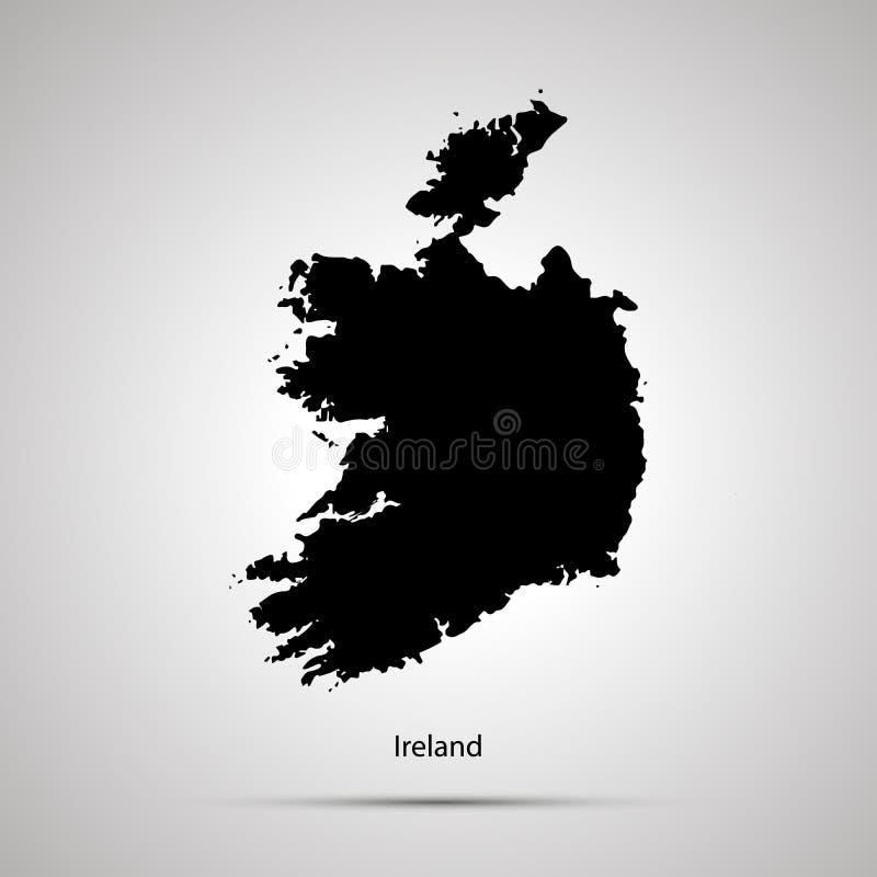 De kaart van het land van Ierland, eenvoudig zwart silhouet op grijs vector illustratie