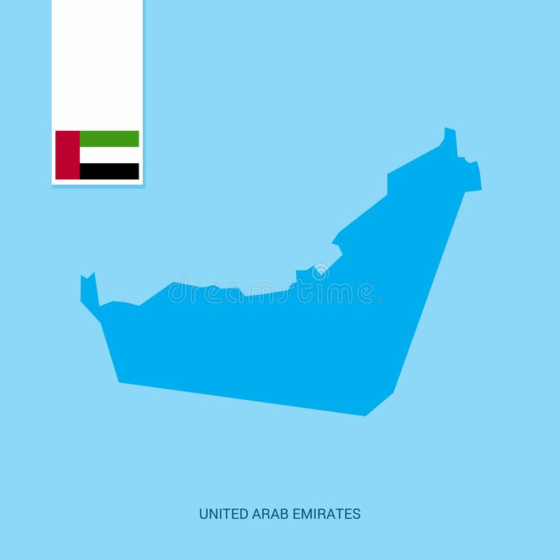 De Kaart van het Land van de V.A.E met Vlag over Blauwe achtergrond royalty-vrije illustratie
