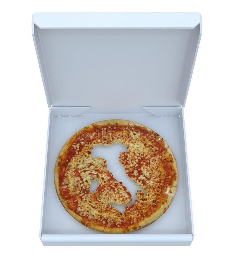 De kaart van het land van Italië op pizza binnen doos wordt bebouwd die royalty-vrije stock fotografie