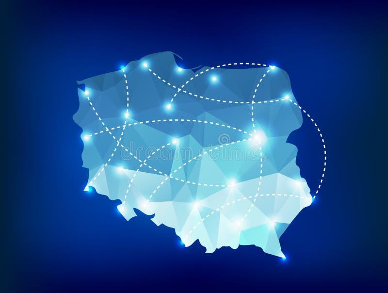 De kaart van het land van Polen veelhoekig met de plaatsen van vleklichten stock illustratie