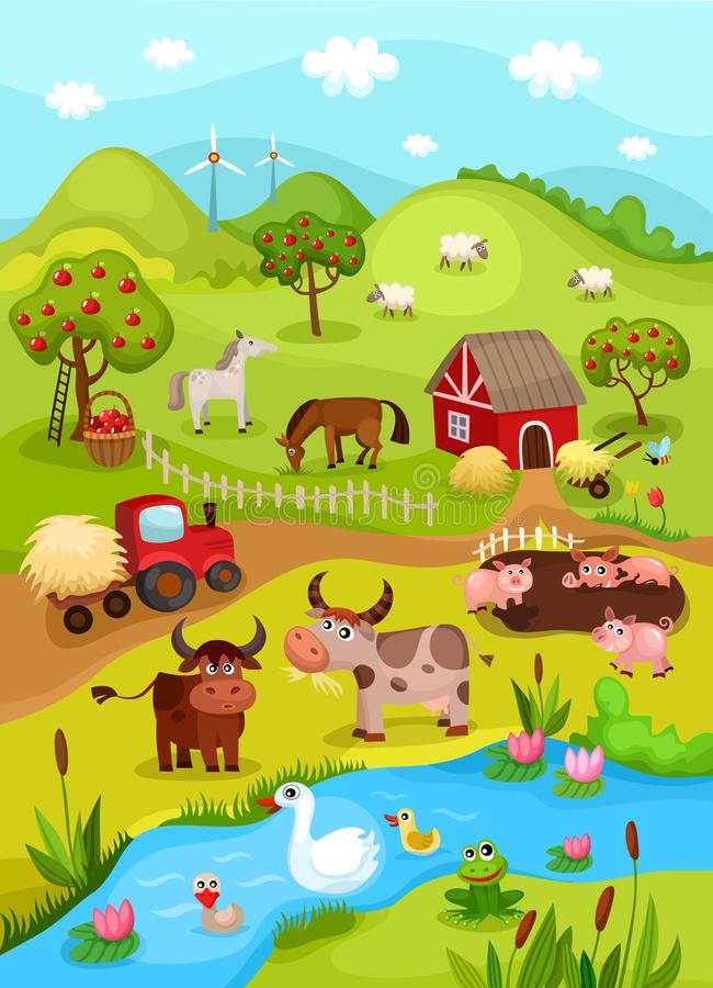 De kaart van het landbouwbedrijf royalty-vrije illustratie