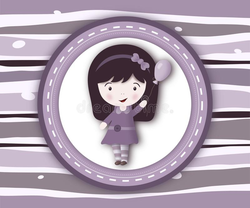 De kaart van het meisjeetiket op stripey violette achtergrond royalty-vrije illustratie