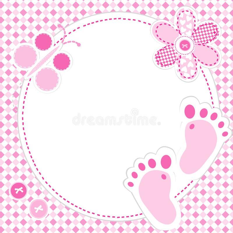 De kaart van de het meisjesgroet van de baby stock illustratie