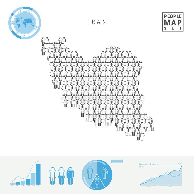 De Kaart van het de Mensenpictogram van Iran Gestileerd Vectorsilhouet van Iran Bevolkingstoename en het Verouderen Infographics royalty-vrije illustratie