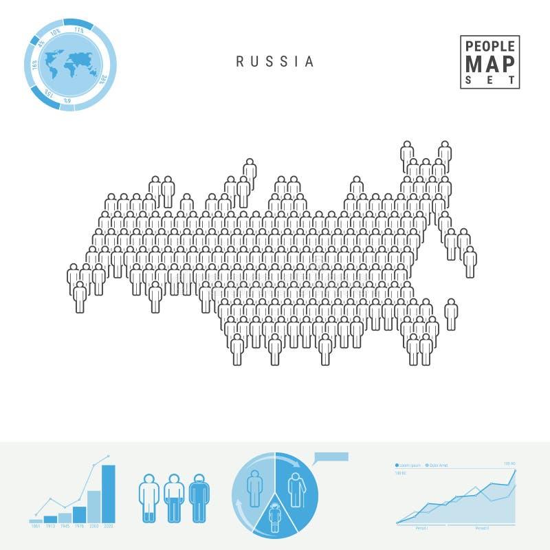 De Kaart van het de Mensenpictogram van Rusland Gestileerd Vectorsilhouet van Rusland Bevolkingstoename en het Verouderen Infogra vector illustratie