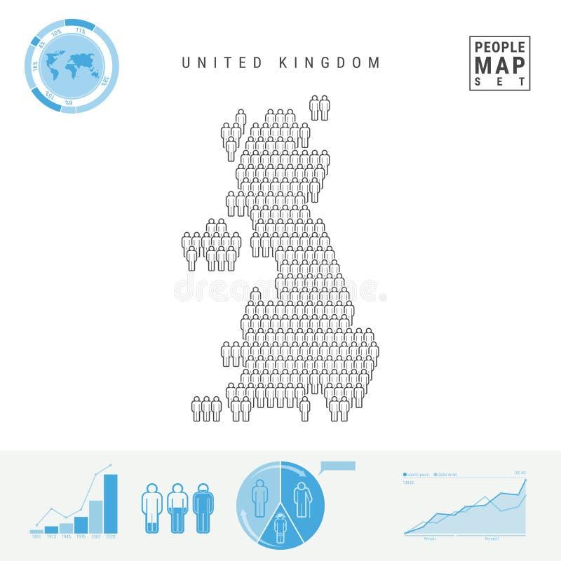 De Kaart van het de Mensenpictogram van het Verenigd Koninkrijk Gestileerd Vectorsilhouet van Groot-Brittannië Bevolkingstoename  stock illustratie