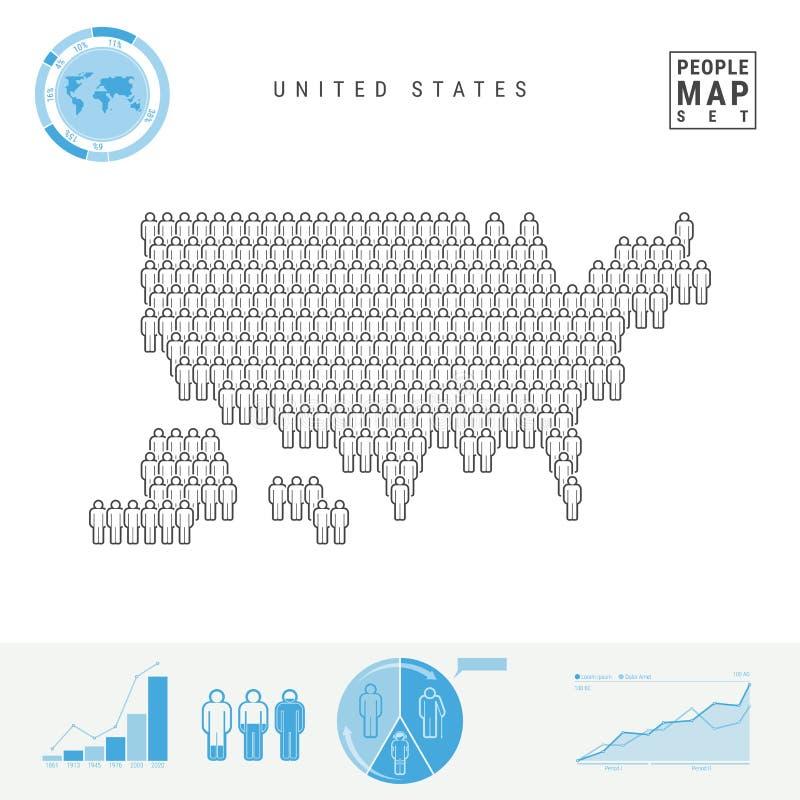 De Kaart van het de Mensenpictogram van Verenigde Staten Gestileerd Vectorsilhouet van de V.S. Bevolkingstoename en het Veroudere stock illustratie
