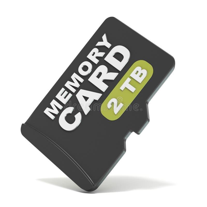 De kaart van het MicroSDgeheugen, vooraanzicht 2 TB 3d stock illustratie