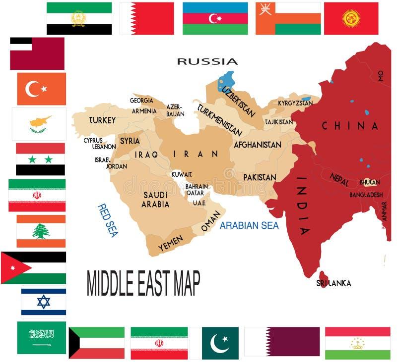 De kaart van het Midden-Oosten. royalty-vrije illustratie