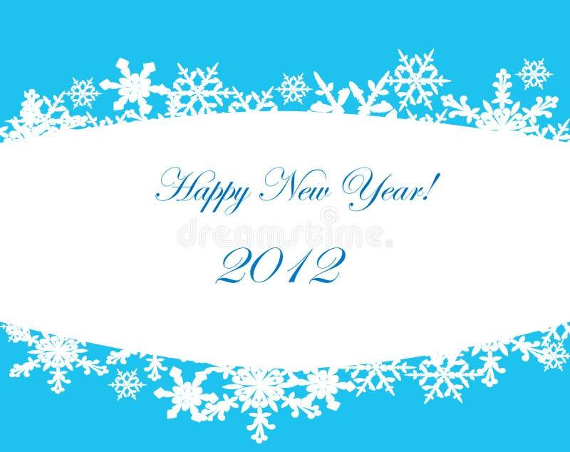 De kaart van het nieuwjaar met sneeuwvlokken. vector illustratie