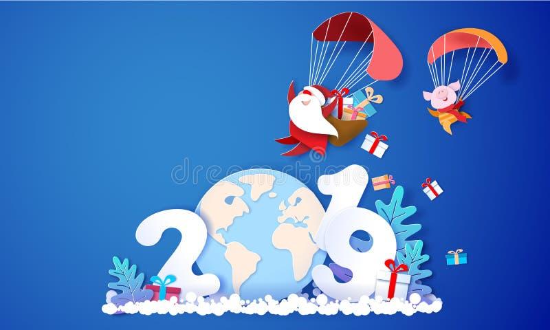2019 de kaart van het Nieuwjaarontwerp met Santa Claus vector illustratie