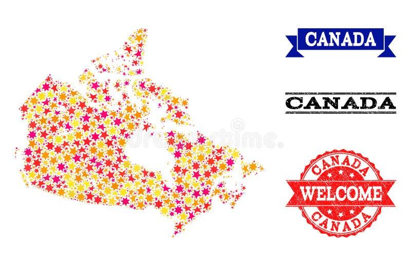 De Kaart van het stermozaïek van de Watermerken van Canada en Grunge- stock illustratie