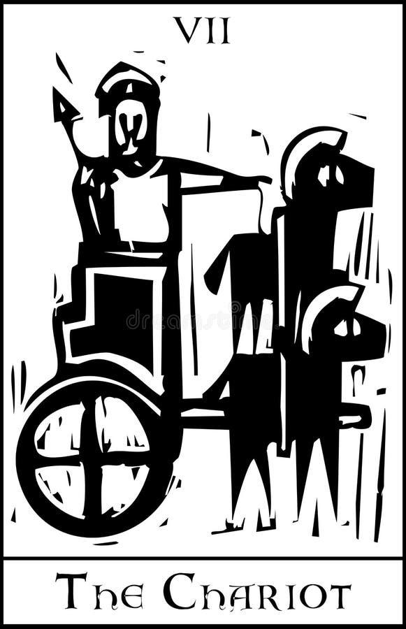 De Kaart van het Tarot van de blokkenwagen vector illustratie