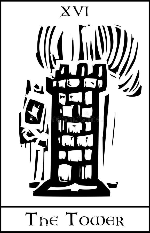 De Kaart van het Tarot van de toren stock illustratie