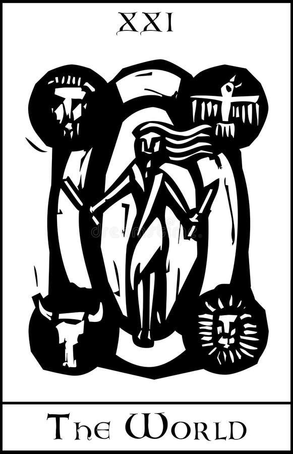 De Kaart van het Tarot van de wereld royalty-vrije illustratie