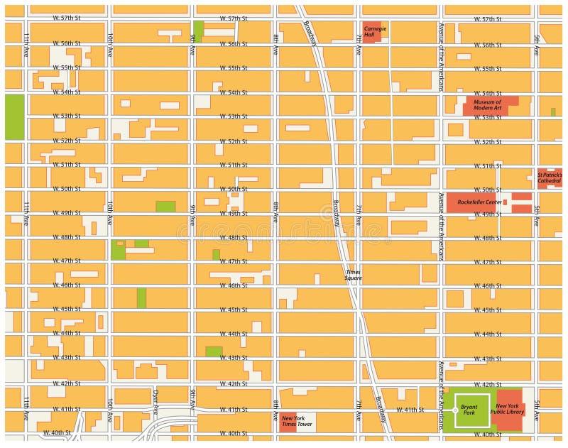 De kaart van het theaterdistrict, New York vector illustratie