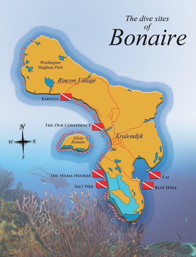 De kaart van het tonen Boanire duikt plaatsen stock afbeelding