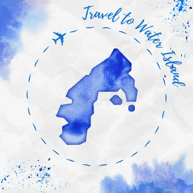 De kaart van het de waterverfeiland van het watereiland in blauwe kleuren royalty-vrije illustratie