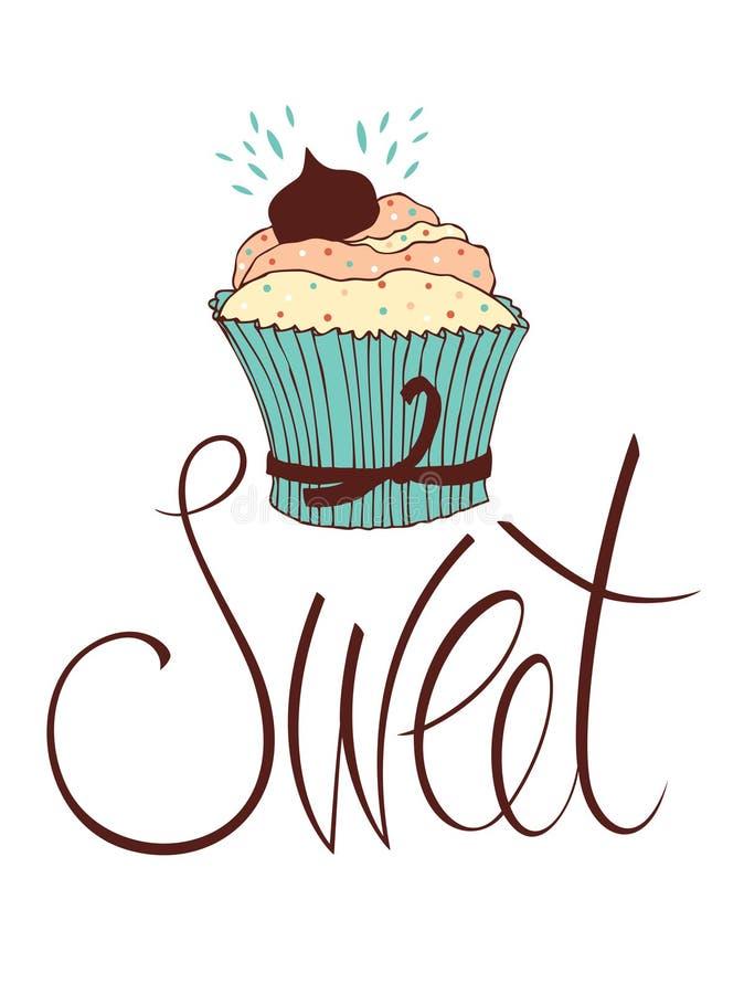 De kaart van het zoete chocolade cupcake ontwerp vector illustratie