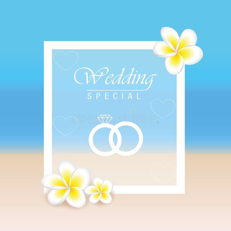 De kaart van het de zomerstrand voor huwelijksuitnodiging met frangipanibloemen vector illustratie