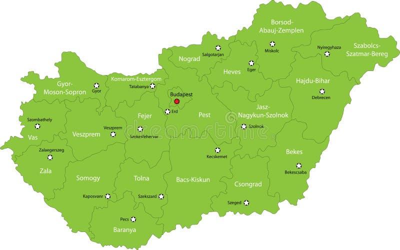 De kaart van Hongarije royalty-vrije illustratie