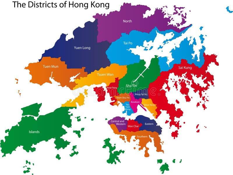 De kaart van Hongkong royalty-vrije illustratie