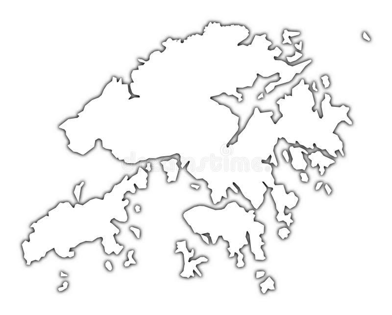 De kaart van Hongkong met schaduw stock illustratie