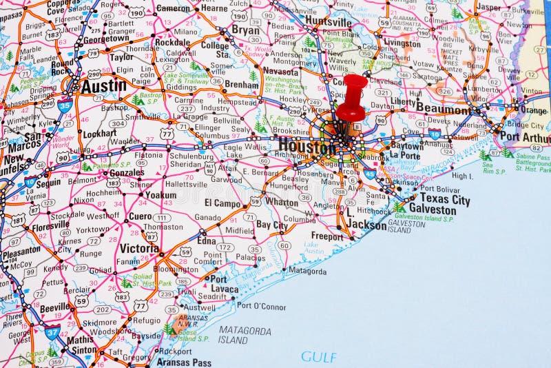 De Kaart Van Houston Royalty-vrije Stock Afbeeldingen