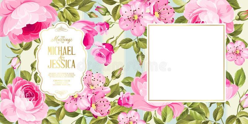 De kaart van de huwelijksuitnodiging met bloemen stock illustratie