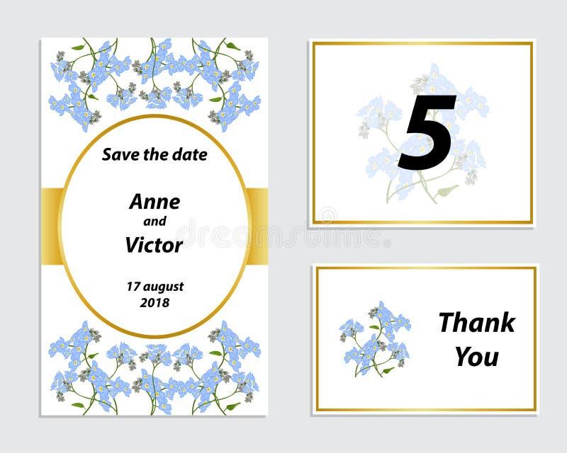 De kaart van de huwelijksuitnodiging met een romantische gevoelige bloem royalty-vrije illustratie