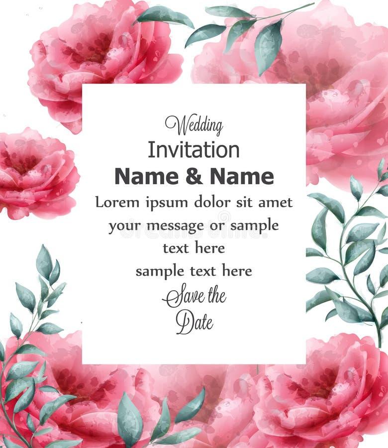 De kaart van de huwelijksuitnodiging met de lente bloeit de Vector van de bannerwaterverf De mooie uitstekende affiches van het p stock illustratie