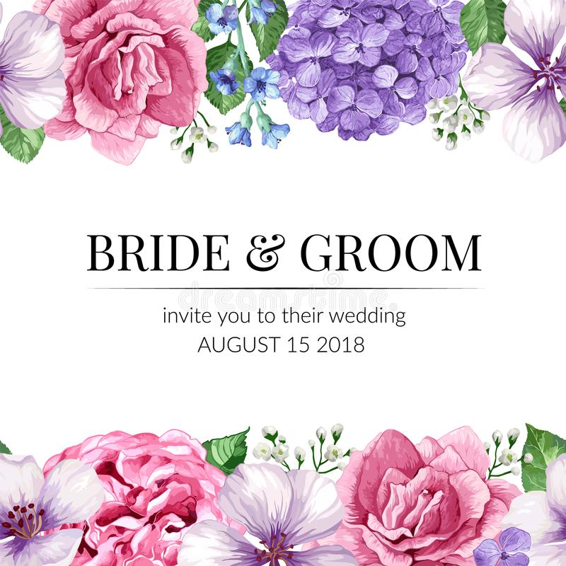 De kaart van de huwelijksuitnodiging met naadloze bloemgrens in waterverfstijl op witte achtergrond Malplaatje voor groetkaart vector illustratie