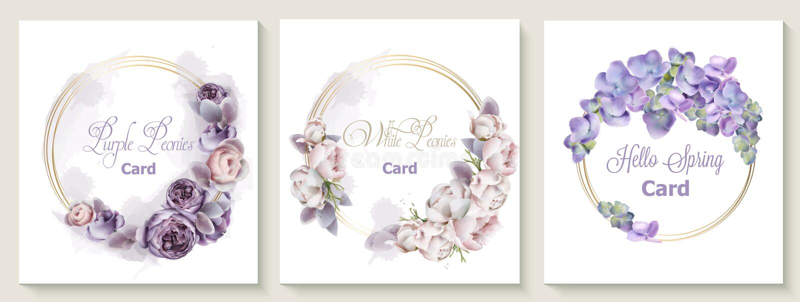 De kaart van de huwelijksuitnodiging met purpere de bloemen Vectorwaterverf die van pioenbloemen wordt geplaatst Sparen het ontwe stock illustratie