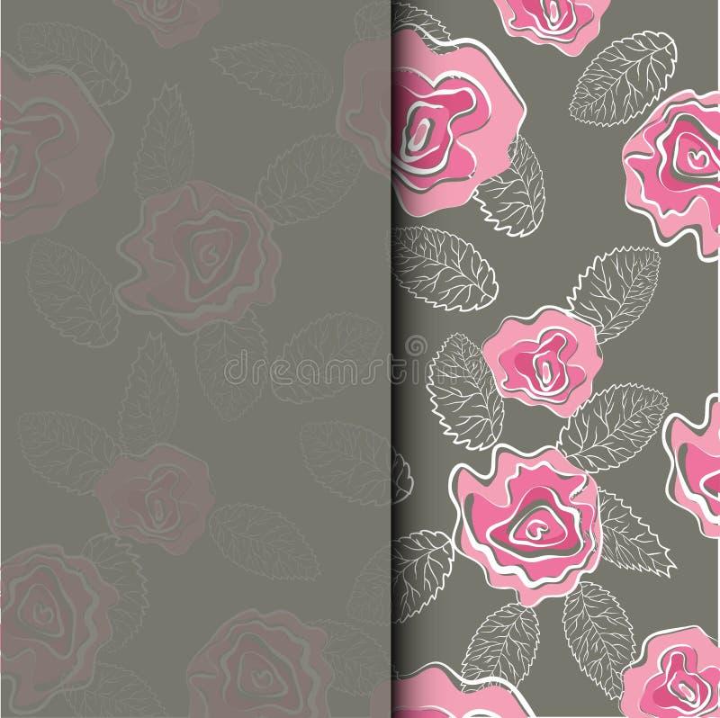 De kaart van de huwelijksuitnodiging met roze rozenbloem in het achtergrondmalplaatje Vectorreeks bloeiende bloemenelementen voor vector illustratie