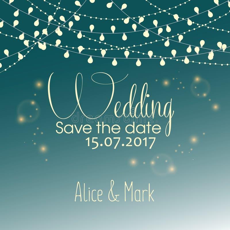 De Kaart van de huwelijksuitnodiging met Vakantielichten royalty-vrije illustratie