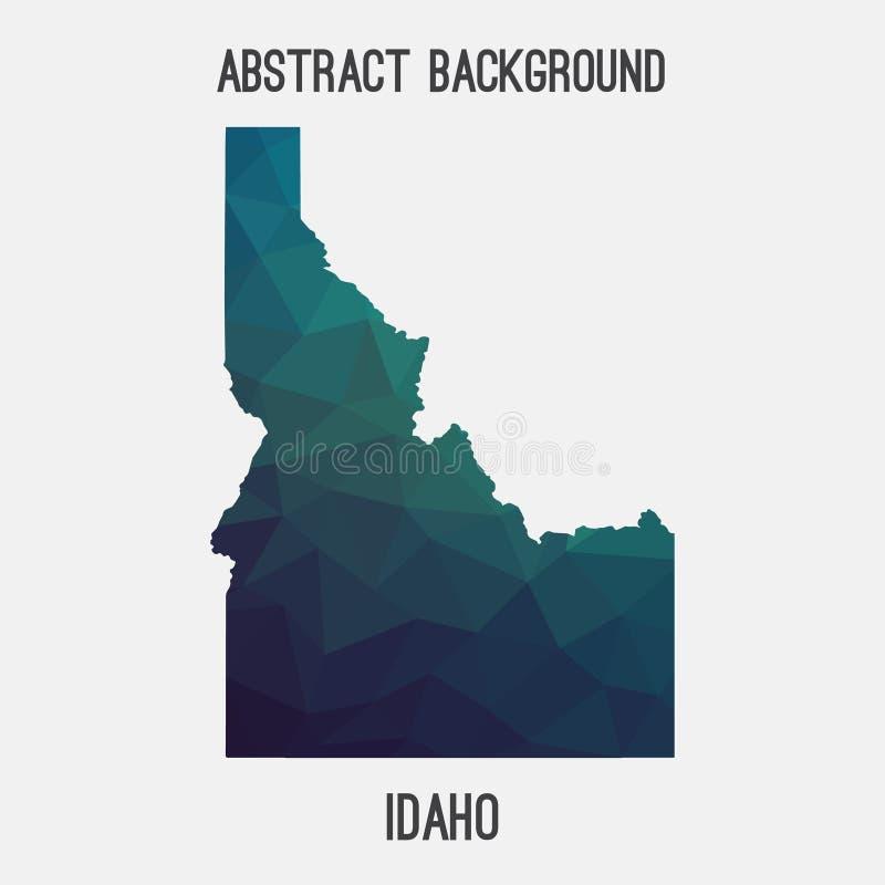 De kaart van Idaho in geometrische veelhoekig, mozaïekstijl stock illustratie
