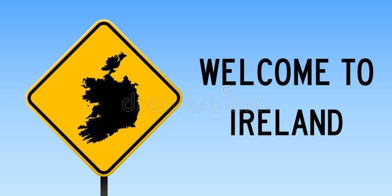 De kaart van Ierland op verkeersteken vector illustratie