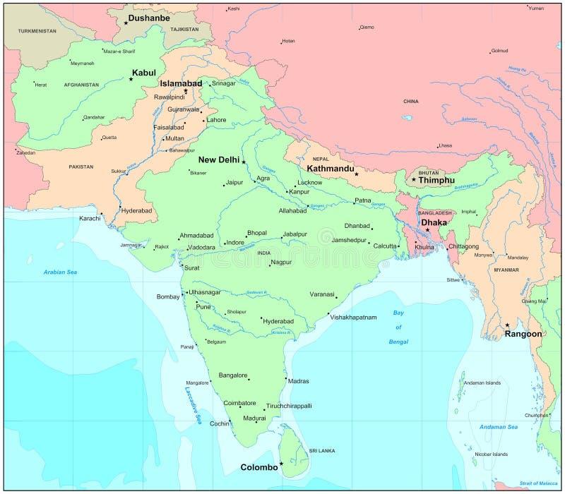 De kaart van India
