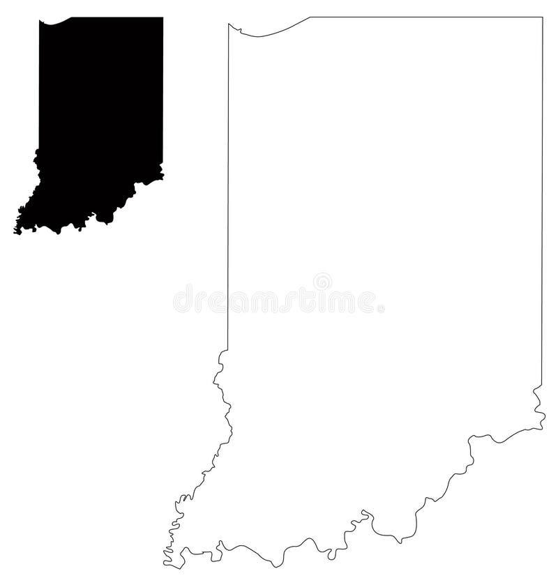 De kaart van Indiana - staat in het van het Midwesten gebied van de Verenigde Staten royalty-vrije illustratie