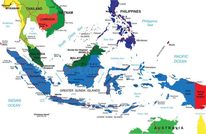 De kaart van Indonesië royalty-vrije illustratie