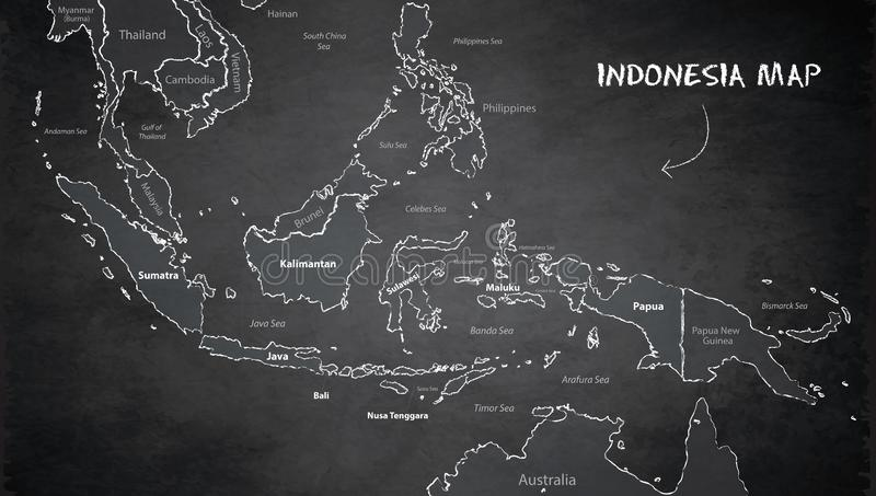 De kaart van Indonesië, de namen van de staat, afzonderlijke staten, individueel gebied, bordbord stock illustratie