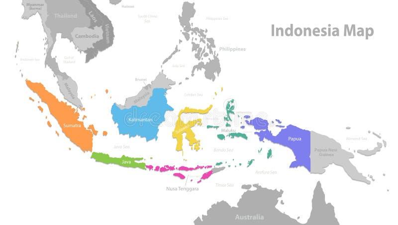 De kaart van Indonesië, nieuwe politieke gedetailleerde kaart, afzonderlijke individuele die staten, met de namen van de staat, o stock illustratie